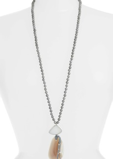 Chan Luu Silver Agate Statement Pendant Necklace