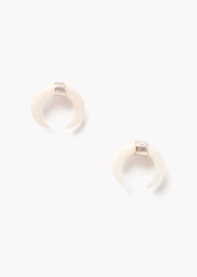 Chan Luu Silver White Horn Stud Earrings