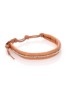 Chan Luu Sterling Silver & Leather Beaded Wrap Bracelet