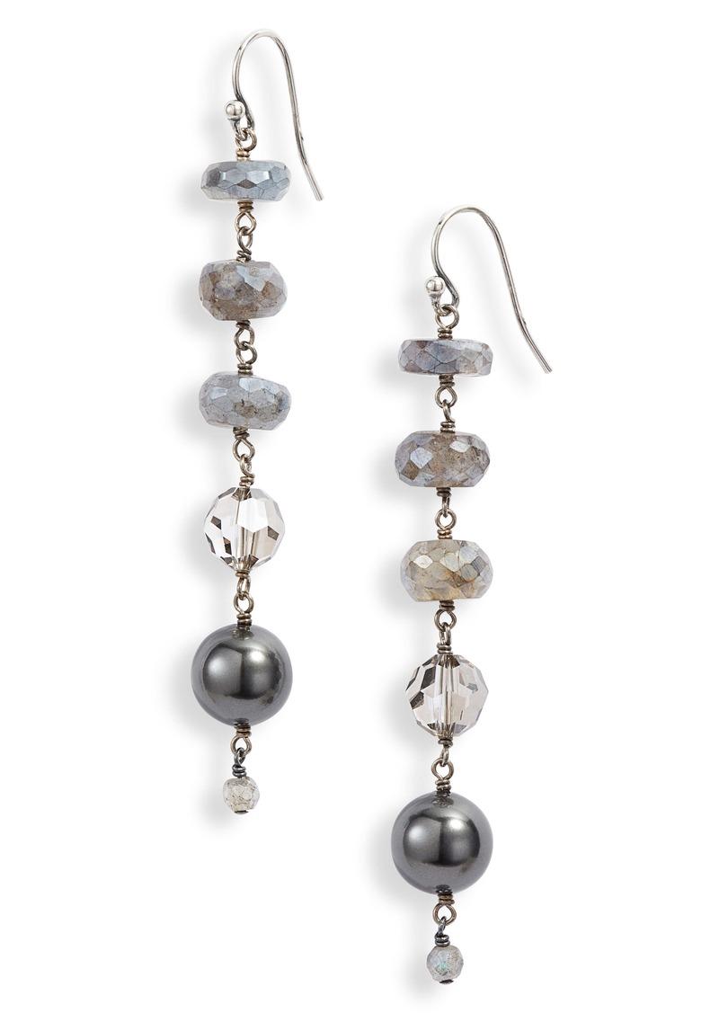 Chan Luu Swarovski Crystal & Imitation Pearl Linear Drop Earrings