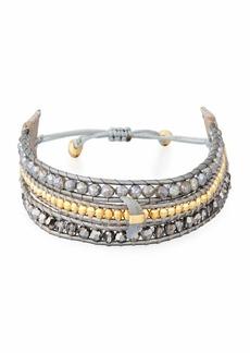 Chan Luu Three-Strand Pull-Tie Bracelet in Mystic Labradorite