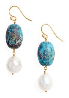 Chan Luu Turquose & Pearl Drop Earrings