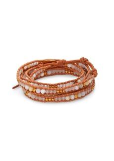 Chan Luu White Opal, White Jade & Leather Beaded Wrap Bracelet