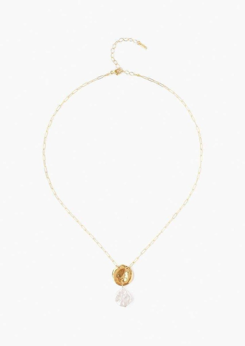 Chan Luu White Pearl Gold Necklace