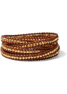 Chan Luu Woman 18-karat Gold-plated Sterling Silver And Leather Wrap Bracelet Brown