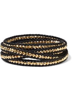 Chan Luu Woman 18-karat Gold-plated Sterling Silver And Leather Wrap Bracelet Black