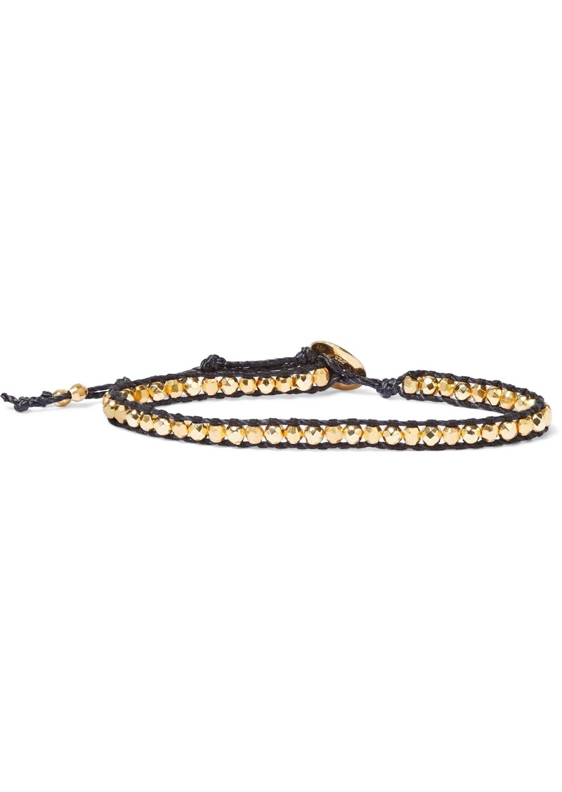 Chan Luu Woman 18-karat Gold-plated Sterling Silver Bead And Cord Bracelet Black