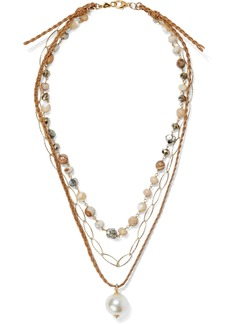 Chan Luu Woman 18-karat Gold-plated Sterling Silver Multi-stone And Cord Necklace Gold