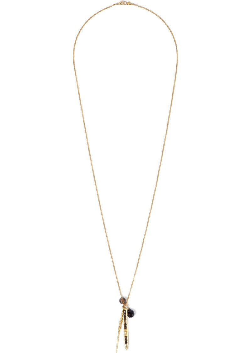 Chan Luu Woman 18-karat Gold-plated Sterling Silver Multi-stone Necklace Black