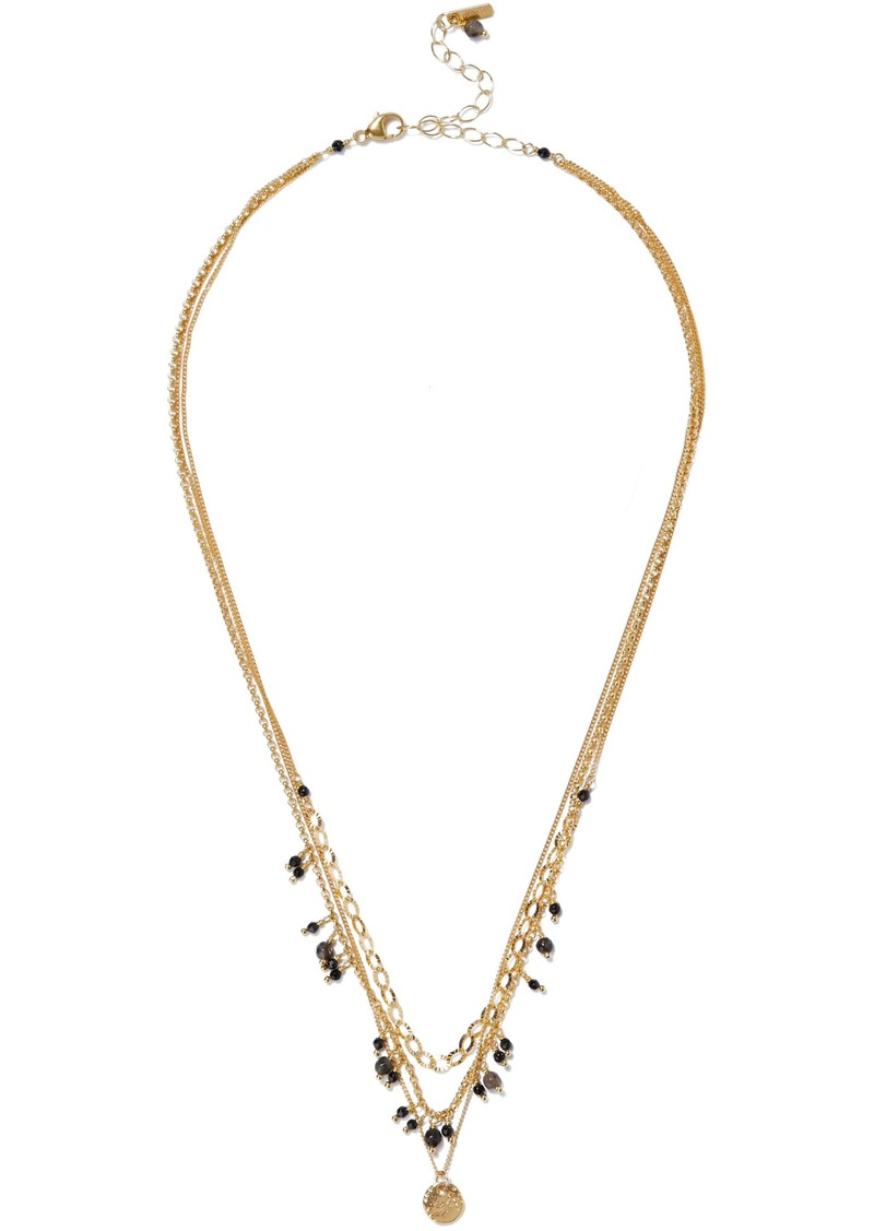Chan Luu Woman 18-karat Gold-plated Sterling Silver Pietersite And Spinel Necklace Black