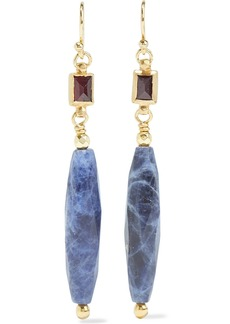 Chan Luu Woman 18-karat Gold-plated Sterling Silver Sodalite And Crystal Earrings Navy