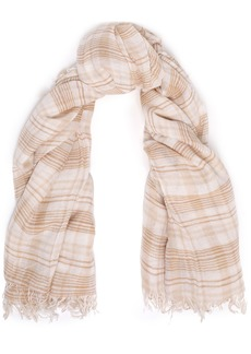 Chan Luu Woman Frayed Checked Cashmere And Silk-blend Gauze Scarf Beige