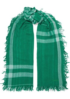 Chan Luu Woman Frayed Checked Cashmere And Silk-blend Scarf Green