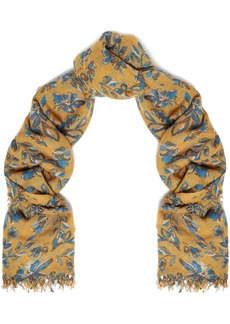 Chan Luu Woman Frayed Floral-print Cashmere And Silk-blend Gauze Scarf Mustard