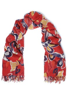 Chan Luu Woman Frayed Floral-print Cashmere And Silk-blend Gauze Scarf Red