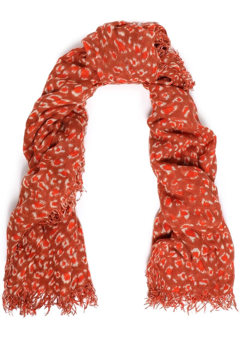 Chan Luu Woman Frayed Leopard-print Cashmere And Silk-blend Gauze Scarf Brick