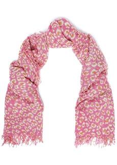 Chan Luu Woman Frayed Leopard-print Cashmere And Silk-blend Gauze Scarf Pink