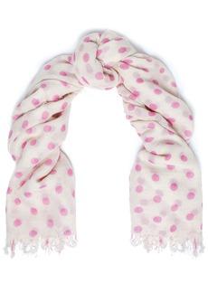 Chan Luu Woman Frayed Polka-dot Cashmere And Silk-blend Scarf Pink