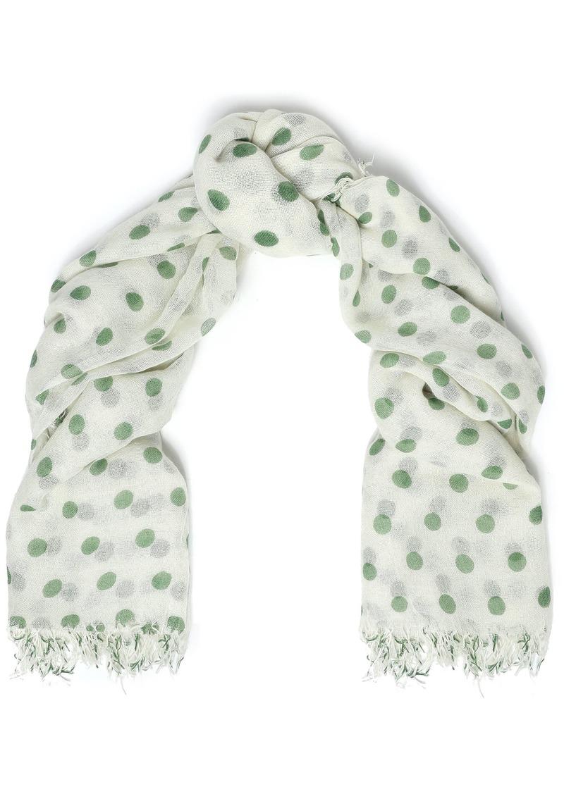 Chan Luu Woman Frayed Polka-dot Cashmere And Silk-blend Scarf Green