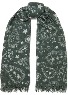 Chan Luu Woman Frayed Printed Cashmere And Silk-blend Scarf Forest Green