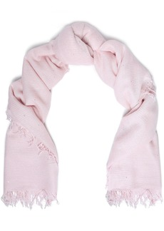 Chan Luu Woman Frayed Sequin-embellished Cashmere And Silk-blend Scarf Baby Pink