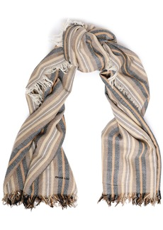 Chan Luu Woman Frayed Striped Cashmere And Silk-blend Gauze Scarf Taupe
