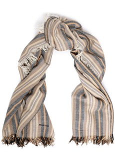 Chan Luu Woman Striped Cashmere And Silk-blend Scarf Taupe
