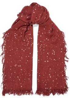 Chan Luu Woman Frayed Printed Cashmere And Silk-blend Gauze Scarf Brick
