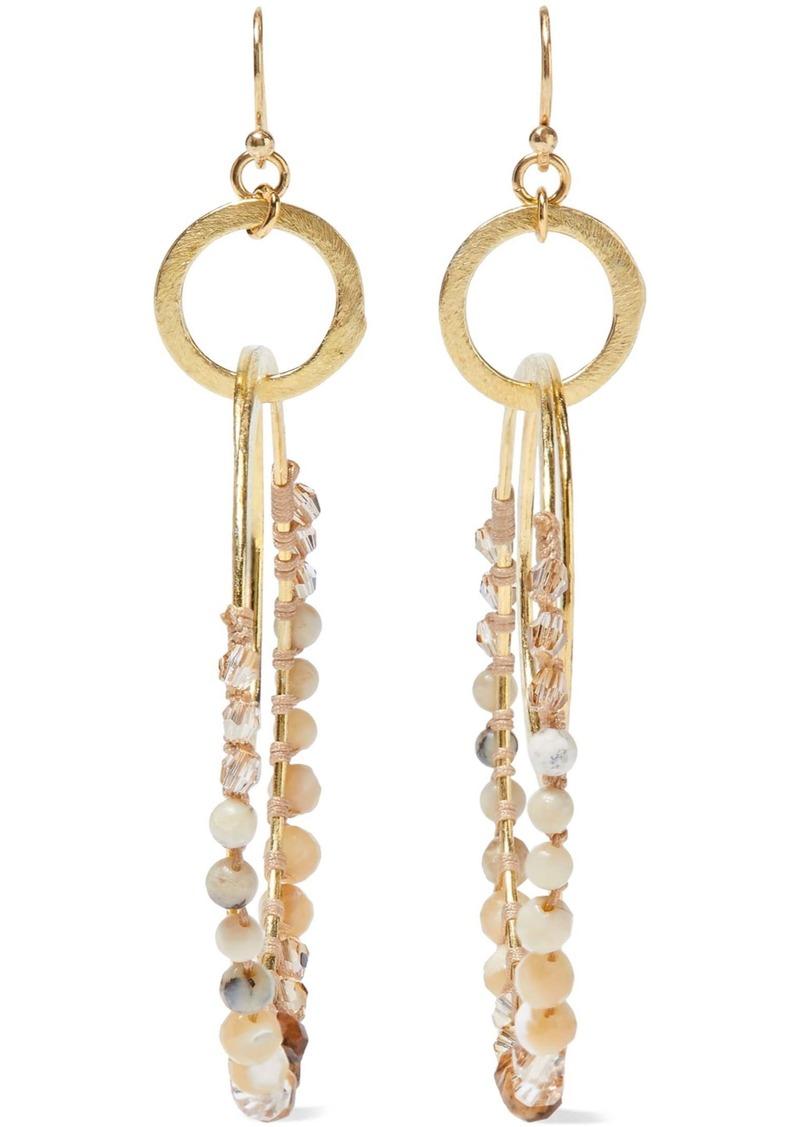 Chan Luu Woman Gold-tone Multi-stone And Cord Hoop Earrings Ivory