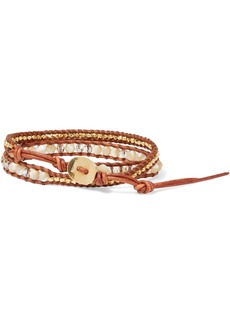 Chan Luu Woman 18-karat Gold-plated Sterling Silver Multi-stone And Leather Wrap Bracelet Camel