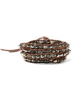 Chan Luu Woman Leather Abalone Swarovski Crystal Titanium And Cord Wrap Bracelet Brown
