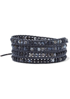 Chan Luu Woman Leather And Silver-tone Multi-stone Wrap Bracelet Black