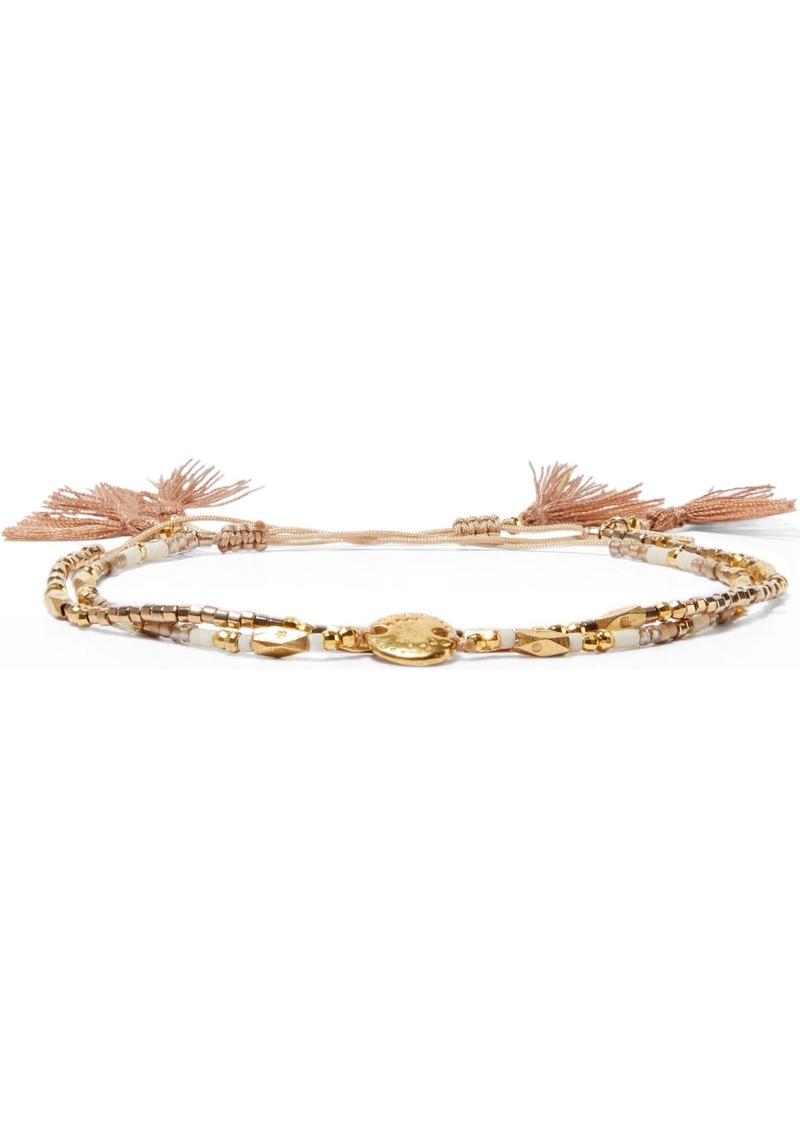 Chan Luu Woman Set Of Two 18-karat Gold-plated Sterling Silver Beaded Bracelets Ivory