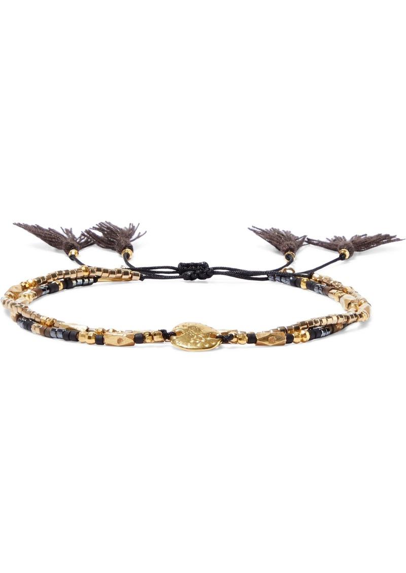 Chan Luu Woman Set Of Two 18-karat Gold-plated Sterling Silver Beaded Bracelets Black