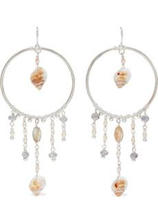 Chan Luu Woman Silver-tone Freshwater Pearl Shell And Silverite Hoop Earrings Silver