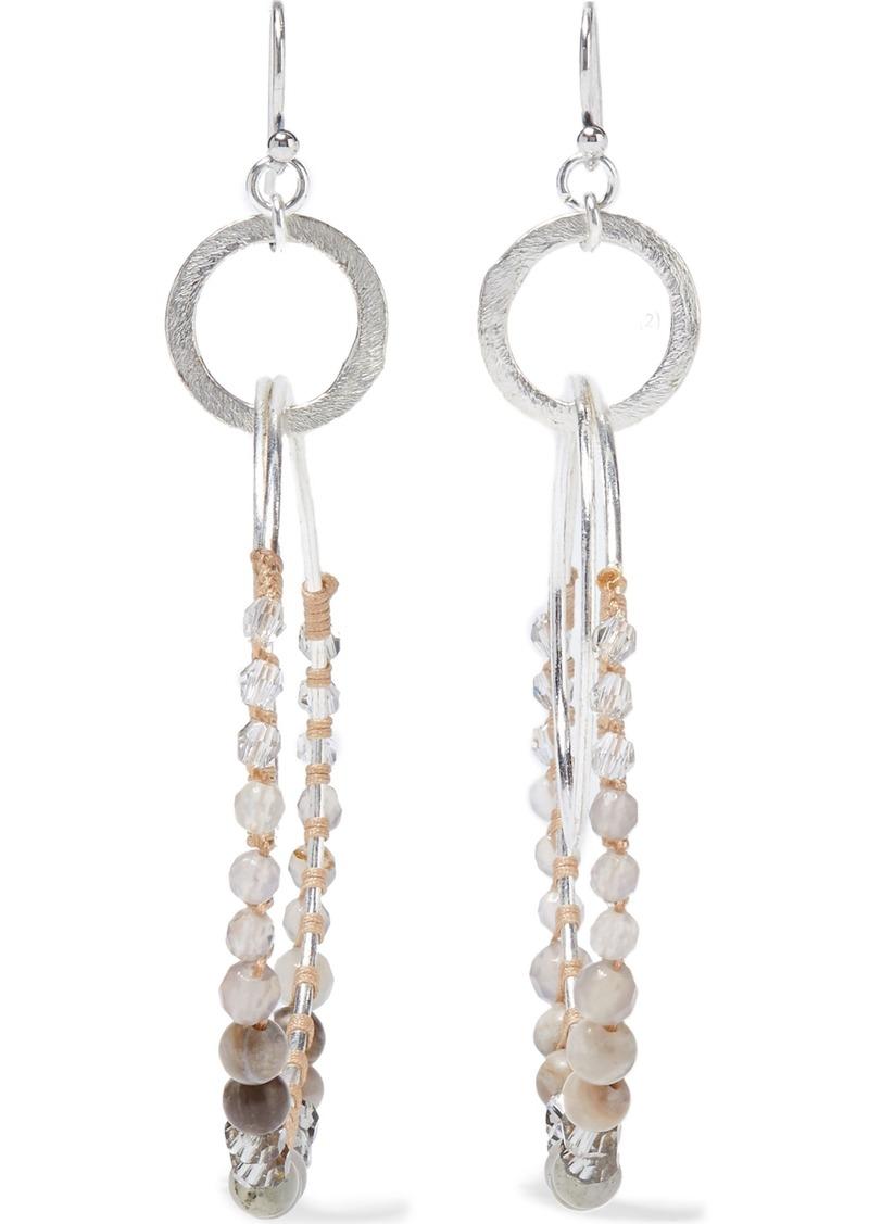 Chan Luu Woman Silver-tone Multi-stone And Cord Hoop Earrings Gray