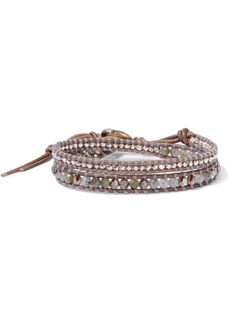 Chan Luu Woman Sterling Silver Leather Swarovski Crystal And Labradorite Wrap Bracelet Brown