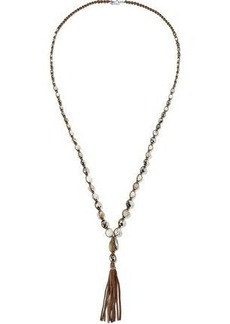Chan Luu Woman Sterling Silver Semi-precious Stone Cord And Leather Tasseled Necklace Brown