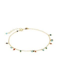 Chan Luu Dangling Mixed Stone & 18K Goldplated Sterling Silver Anklet