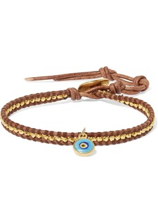 Chan Luu Evil Eye Leather, Gold-plated And Enamel Bracelet
