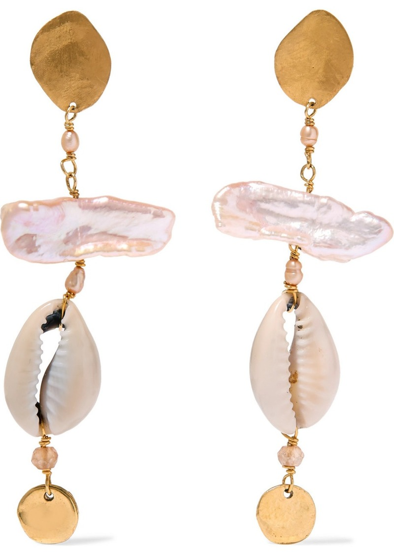 Gold-plated, Pearl, Shell And Citrine Earrings