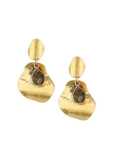 Chan Luu Hammered Labradorite & Pyrite Drop Earrings