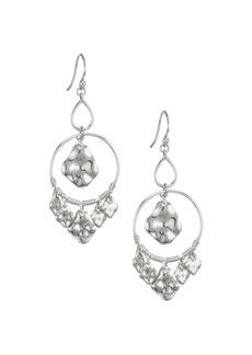 Chan Luu Hammered Sterling Silver Double Hoop Charm Earrings