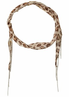 Chan Luu Leopard Print Skinny Scarf with Beading