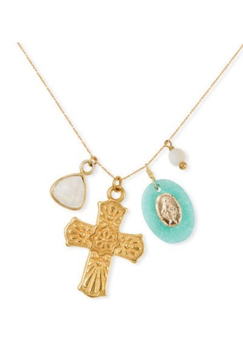Chan Luu Long Cross Charm Necklace w/ Stones