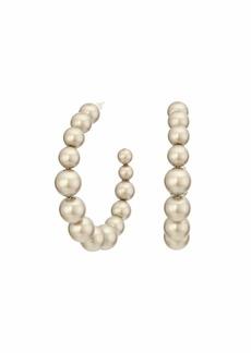 Chan Luu Medium Size Crystal Pearl Hoop Earrings