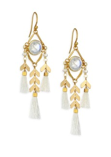 Chan Luu Moonstone Stone & Tassel Earrings
