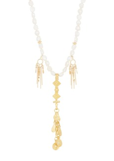 Chan Luu 18K Yellow Gold Plated Freshwater Pearl & Chain Fringe Necklace