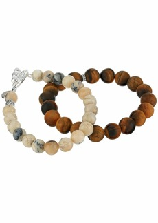 Chan Luu Set of Two Stretch Bracelets in Tigers Eye and Multi Brioche Agate