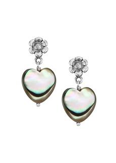 Chan Luu Sterling Silver & Abalone Shell Heart Drop Earrings
